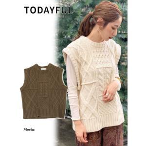 代引き不可  TODAYFUL  トゥデイフル Cable Knit Vest  19秋冬予約 11920506|hearty-select