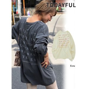 代引き不可  TODAYFUL  トゥデイフル Backprint Long T-Shirts  19秋冬予約 11920607|hearty-select