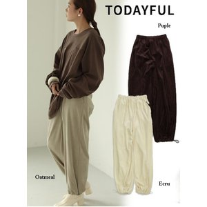 TODAYFUL  トゥデイフル Drawstring Velour Pants  19秋冬.予約 11920715|hearty-select