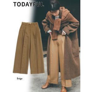 TODAYFUL  トゥデイフル Twill Tuck Trousers  19秋冬.予約 11920717 パンツ ツイルタックトラウザーズ ワイドパンツ|hearty-select