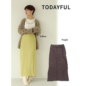 TODAYFUL  トゥデイフル Frontbutton Satin Skirt  19秋冬.予約 11920813 タイトスカート フロントボタンサテンスカート サテン シンプル|hearty-select