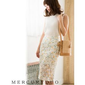MERCURYDUOマーキュリーデュオ レースフラワー タイトスカート  17春夏. 1730801301 hearty-select