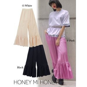 Honey mi Honey (ハニーミーハニー)satin hemfrill pants  17秋冬【17A-AB-04】|hearty-select