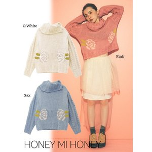 Honey mi Honey (ハニーミーハニー)rose highneckknit  17秋冬.予約【17A-RO-06】|hearty-select