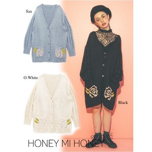 Honey mi Honey (ハニーミーハニー)rose Vneck knit cardigan  17秋冬.予約【17A-RO-07】|hearty-select