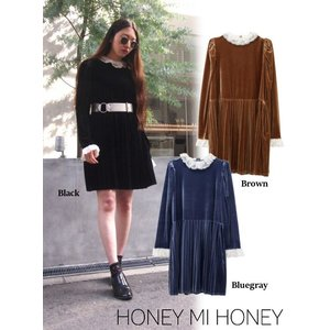 Honey mi Honey (ハニーミーハニー)velvet pleats one-piece  17秋冬.予約【17A-TA-21】|hearty-select