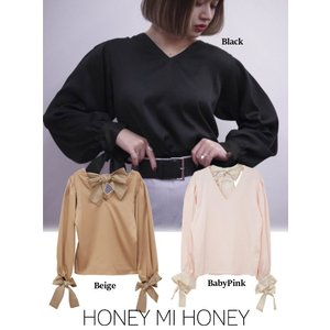 Honey mi Honey (ハニーミーハニー)2way satin ribbon blouse  17秋冬.予約【17A-TA-23】|hearty-select