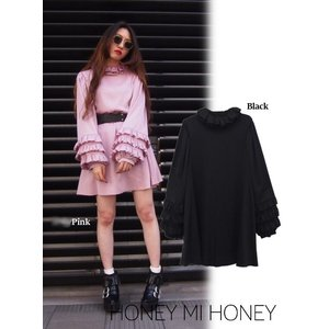 Honey mi Honey (ハニーミーハニー)satin tiered sleeve tunic  17秋冬.予約【17A-TA-24】|hearty-select