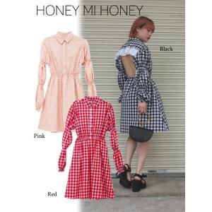 セール60%OFF  Honey mi Honey  ハニーミーハニー backopen ginghamcheck one-piece  18春夏. 18S-TA-15受注会|hearty-select