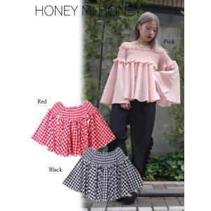 セール60%OFF  Honey mi Honey  ハニーミーハニー ginghamcheck offshoulder blouse  18春夏. 18S-TA-16受注会|hearty-select