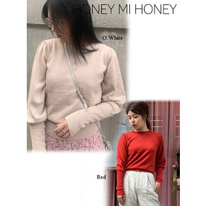 Honey mi Honey ハニーミーハニー puffsleeve knit top  19秋冬予約 19A-SW-02|hearty-select