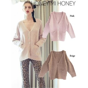 Honey mi Honey ハニーミーハニー cable Vneck cardigan  19秋冬予約 19A-SW-04|hearty-select