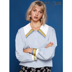 12%OFF! sister jane シスタージェーン  Wide Collar Blouse  19春夏 19SJ01BL803BLE シャツ・ブラウス 定価 11800円|hearty-select