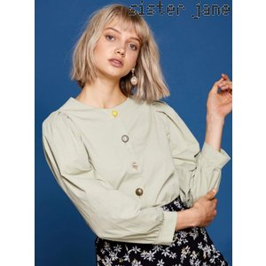 12%OFF! sister jane シスタージェーン  Mixed Button Cotton Blouse  19春夏 19SJ01BL807GRN シャツ・ブラウス 定価 10800円|hearty-select