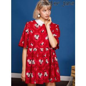 12%OFF! sister jane シスタージェーン  Embroidery Smock Mini Dress  19春夏 19SJ01DR1039RED フレアワンピース 定価 16800円|hearty-select