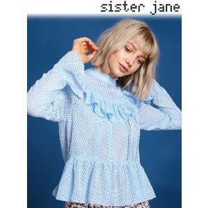 12%OFF! sister jane シスタージェーン  Sheer Texture Peplum Hem Top  19春夏 19SJ01TO396BLE シャツ・ブラウス 定価 11800円|hearty-select