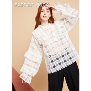 sister jane シスタージェーン Oversized Sheer Check Blouse   19秋冬予約 20SJ0BL852|hearty-select