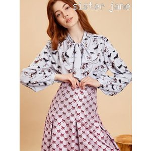sister jane シスタージェーン Dog Print Bow Blouse  19秋冬予約 20SJ0BL854|hearty-select
