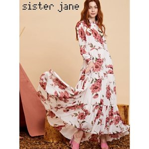 sister jane シスタージェーン Tiered Maxi Dress in Large Floral   19秋冬 20SJ0DR1103 マキシワンピース|hearty-select