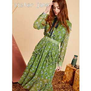 sister jane シスタージェーン Midi Ruffle Dress In Floral   19秋冬 20SJ0DR1106 マキシワンピース|hearty-select