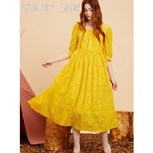 sister jane シスタージェーン Yellow Lace Midi Dress   19秋冬予約 20SJ0DR1107|hearty-select