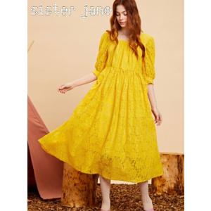 sister jane シスタージェーン Yellow Lace Midi Dress   19秋冬 20SJ0DR1107 マキシワンピース|hearty-select