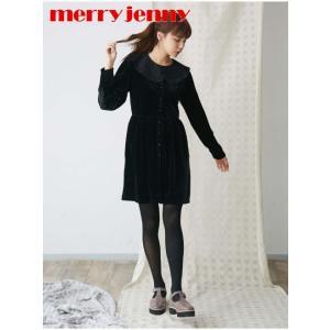 セール50%OFF  merry jenny  メリージェニー フリルカラーベロアワンピース  18秋冬. 281850304101 フレアワンピース 18awpre|hearty-select