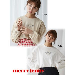 60%OFF merry jenny メリージェニー  teddy刺繍ロンTee  19春夏 281922701201 Tシャツ  定価 5900円|hearty-select