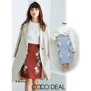 夏セール50%OFF! COCO DEAL(ココディール)フラワーモチーフ刺繍タイトスカート  17春夏.【77217216】|hearty-select