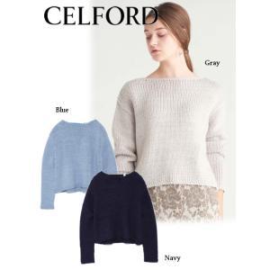 40%OFF  CELFORD セルフォード  バックシャンプルオーバー  18秋冬. CWNT185090 ニットトップス|hearty-select