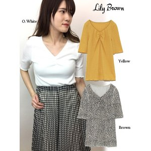 20%OFF Lily Brown リリーブラウン  前ギャザーカットトップス  19春夏 LWCT191115 カットソー  定価 5800円|hearty-select