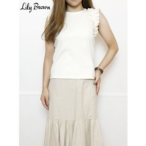 10%OFF Lily Brown リリーブラウン フリルカットノースリ  19春夏.予約 LWCT192162タンクトップ・ノースリーブトップス|hearty-select