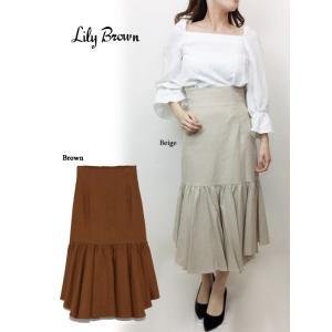 20%OFF Lily Brown リリーブラウン  ランダム裾ハイウエストスカート  19春夏 LWFS191078 フレアスカート  定価 12000円|hearty-select