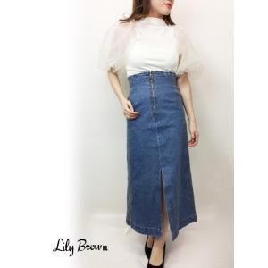 10%OFF Lily Brown リリーブラウン バッククロスデニムスカート  19春夏 LWFS191100 フレアスカート|hearty-select
