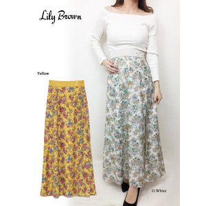 20%OFF Lily Brown リリーブラウン  深スリットフラワータイトスカート  19春夏 LWFS191119 タイトスカート  定価 12000円|hearty-select
