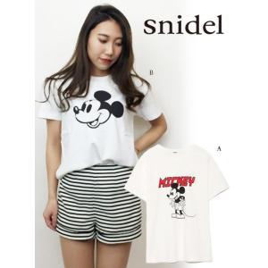 セール30%OFF  snidel スナイデル ミッキーコラボ Tシャツ  18春夏 SWCT181117|hearty-select