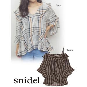 snidel(スナイデル)チェックフリルチュニック  17秋冬【SWFB174107】|hearty-select