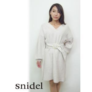 snidel(スナイデル)'ベルティッドファーライクニットワンピース'  17秋冬2【SWNO174071】|hearty-select