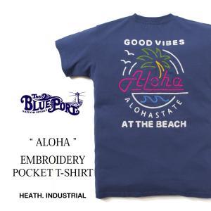 Tシャツ メンズ アメカジ 厚手 サーフ カットソー XLサイズ 大きいサイズ 海 サーフ 刺繍|heath