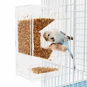 小鳥用外付けフィーダー/小鳥の自動給餌器 フードフィーダー 食器 エサ入れ セキセイインコ 文鳥 オカメインコ