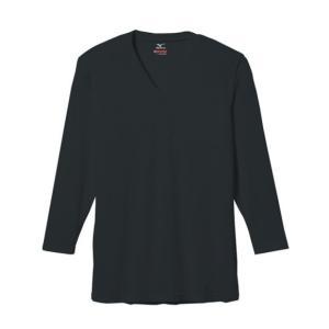 ブレスサーモ エブリ デイリー用 Vネック長袖シャツ C2JA560109 ブラック  ミズノ スポーツウエア