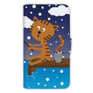 [アングラーズケース] 【手帳型】猫と釣り 本日は雪なり (商品コード: diary2015110712) hedgehog-studio