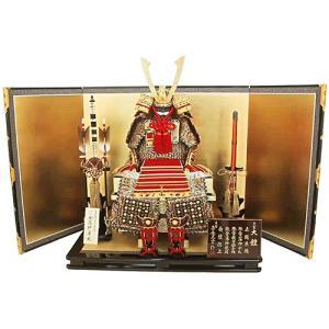 【五月人形】【平飾り】朱赤縅 大鎧金沢箔屏風平台飾り 人形の平安大新 am12035|heiandaishin