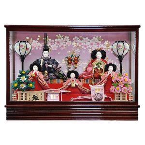 雛人形 ひな人形 コンパクト ケース飾り 落ち着いたケースに豪華五人揃えのおひなさま 平安大新 hd12001|heiandaishin