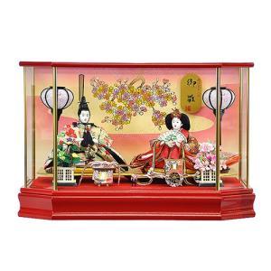 雛人形 ひな人形 木目込人形 コンパクト ケース飾り 向かい合った殿姫が仲睦まじい華やかな印象の雛人形ケース飾り 平安大新 hd12009|heiandaishin