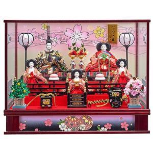 雛人形 ひな人形 コンパクト ケース飾り 五人飾り ぼんぼり電気付 極上金襴衣裳の豪華な衣裳着五人ケース飾り 平安大新 hd12015|heiandaishin