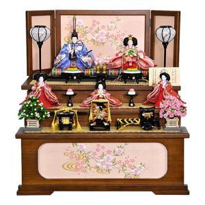 雛人形 ひな人形 収納飾り 五人・三段飾り 明るい金襴衣装で賑やか豪華な五人飾り 平安大新 hd12016|heiandaishin