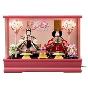 【ひな人形】【コンパクト】【アクリルケース飾り】2019年 新作 ぼんぼり電気付親王飾り 人形の平安大新 hd12019|heiandaishin