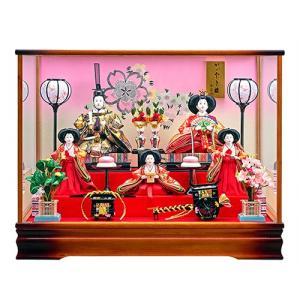 雛人形 コンパクト ケース飾り 五人飾り ぼんぼり電気付豪華...