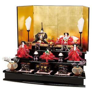 雛人形 衣裳着五人三段飾りセット 黄金色の屏風に存在感のあるの華絢爛なお雛様 平安大新 ひな人形 送料無料 hd12025|heiandaishin